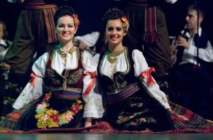 Serbian Women wearing their traditional clothing