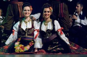 Serbian Women wearing traditional clothing
