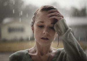 girl waiting for you on the rain