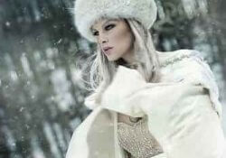 Russian blonde woman in winter clothes