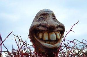 Fake smile statue
