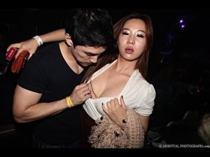 Man in the zone, picking up Asian girl