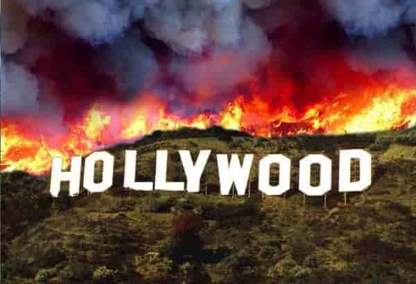 Hollywood sign burning