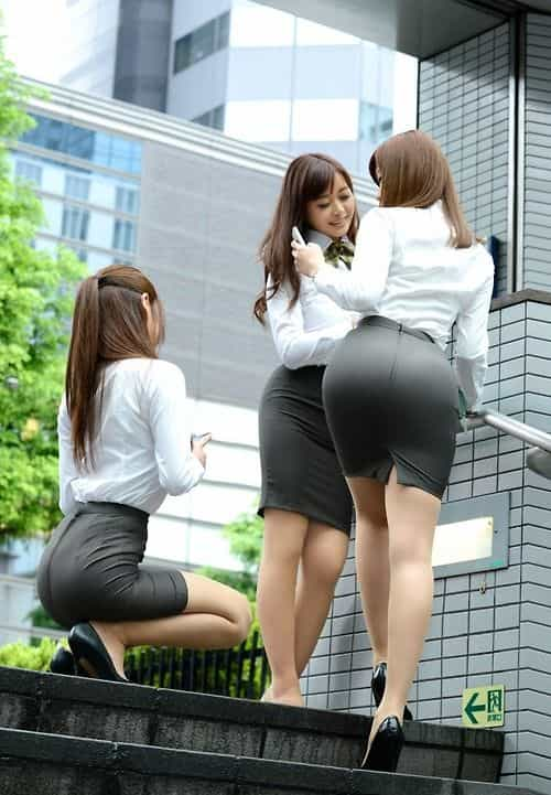 big booty Asian girls in office clothes