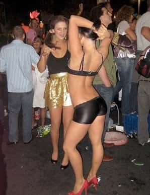 Almost naked girl dancing in New Orleans