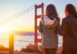 Two San Francisco Girls looking at the bridge