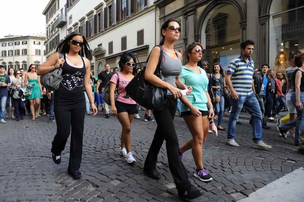 People on Florence Street during a day