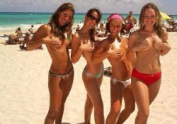 4 Hot Girls On Ibiza Beach Almost Naked, Covering Nippels with hands.